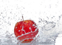 Apple with water splash Stock Photo