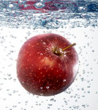 Apple in water. Apple splashing into water on white Stock Image