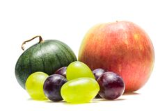 Apple watermelon and grapes of different varieties royalty free stock images