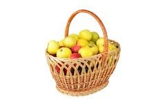 Apple in a wattled basket Stock Photo
