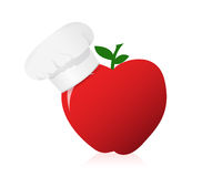 Apple wearing a chefs hat. Stock Images