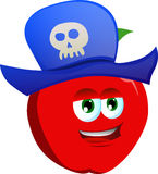 Apple wearing pirate hat Stock Images