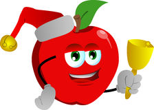 Apple wearing Santa's hat and playing bell Royalty Free Stock Photos