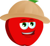 Apple wearing scout or explorer hat Royalty Free Stock Image