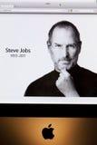 Apple-Websitehulde aan Steve Jobs Stock Foto's