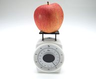 Apple and weight scale. Healthy food, nutrition and fruits - apple and weight scale Stock Photos