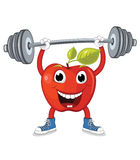 Apple weightlifting  illustration. 