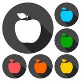 Apple - wektorowe ikony ustawiać z długim cieniem ilustracja wektor