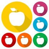 Apple - wektorowe ikony ustawiać z długim cieniem royalty ilustracja