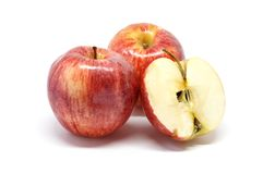 Apple white background closeup detail. Fruit Royalty Free Stock Image