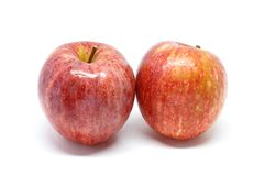 Apple white background closeup detail. Isolated Royalty Free Stock Image