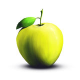 Apple on white background, hand drawn. A digital painting of a juicy green apple isolated on a white background Royalty Free Stock Photography