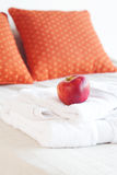 Apple and white towels Royalty Free Stock Photos