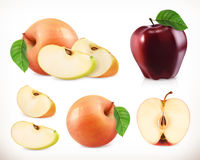 Apple. Whole and pieces. Sweet fruit. 3d vector icons set. Realistic illustration Royalty Free Stock Photo