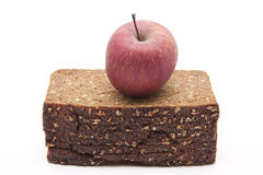 Apple on wholemeal bread Stock Images