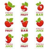 Apple, wiśni, owocowego i świeżego sok, wektorowa kolekcja logo, Zdjęcia Stock