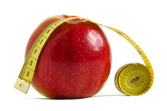 Apple width measuring tape Royalty Free Stock Images