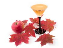 Apple and wine. With maple leaves on a white background Stock Photos