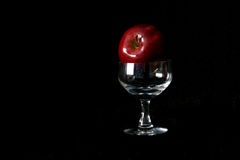 Apple and Wine Glass. A red apple rests on a wine glass with black background Royalty Free Stock Photos