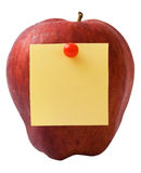 Apple With Note Stock Image