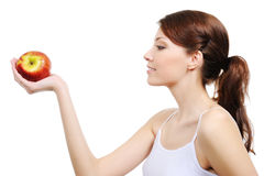 apple woman Στοκ εικόνα με δικαίωμα ελεύθερης χρήσης