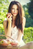 Apple Woman. Very Beautiful Model Royalty Free Stock Photography