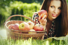 Apple Woman. Very Beautiful Model Royalty Free Stock Image