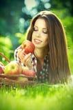 Apple woman. Very beautiful  model Stock Photos