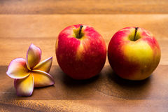 Apple on wood backgrounds Royalty Free Stock Photography