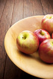 Apple Wood Bowl Background Royalty Free Stock Image
