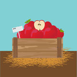 Apple in a wooden crate. Vector illustration Royalty Free Stock Images