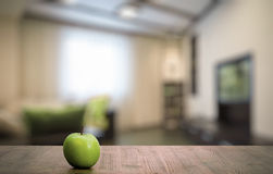 Apple on wooden table Royalty Free Stock Photo
