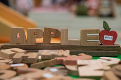 Apple word by wood letter Stock Photos