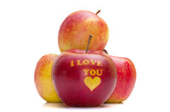 Apple with the words I LOVE YOU Stock Photo