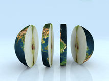 Apple world. The world like a sliced apple 3d illustration Royalty Free Stock Photo