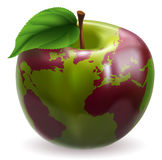 Apple world globe. Conceptual illustration of an apple with color on skin forming the world globe Royalty Free Stock Images