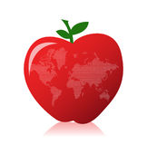 Apple and world map Royalty Free Stock Photos