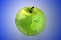 Apple world map. World map on green apple royalty free stock photos