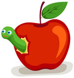 Apple with worm. Illustration of isolated apple with worm Stock Images