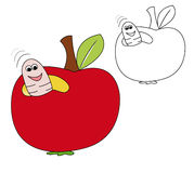 Apple worm. Red apple with smiling worm inside. The blank version is useful for coloring book pages for kids Royalty Free Stock Photo
