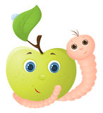 Apple and worm Stock Image