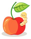 Apple with worm royalty free illustration