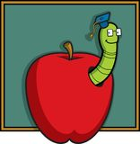 Apple and Worm. A teacher worm in an apple in front of a blackboard Royalty Free Stock Image