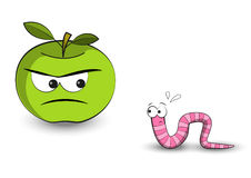 Apple and worm Royalty Free Stock Photography
