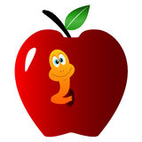 Apple with a worm Stock Images