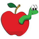 Apple with worm Stock Photos