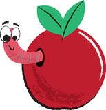 Apple and Worm Childrens Illustration Royalty Free Stock Images