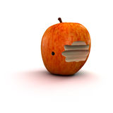 Apple with worm hole Stock Photos