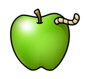 Apple with a Worm Stock Image
