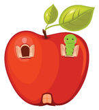 Apple worm  illustration Royalty Free Stock Photography